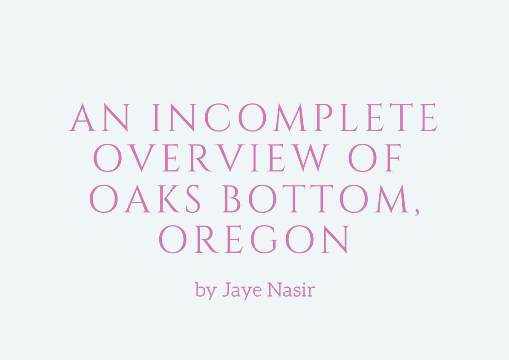 An Incomplete View of Oaks Bottom, Oregon, an essay by Jaye Nasir